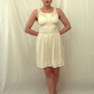 Size Small Cream Cotton Sundress w/ Lace Detailing